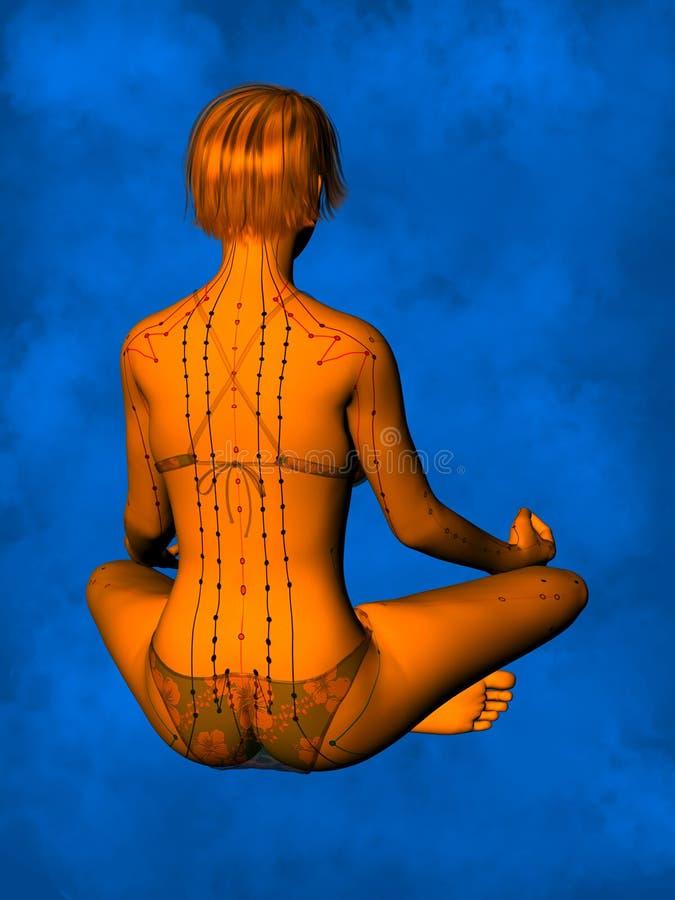 Modelo fêmea GF-POSE Yp-06-12 da acupuntura, ilustração 3D ilustração do vetor