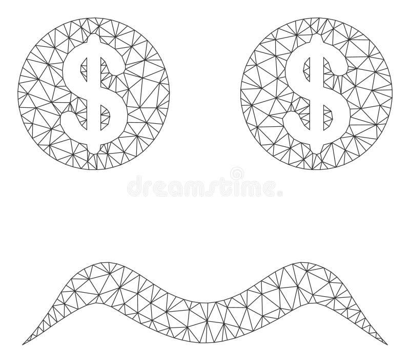 Modelo falido de Smiley Vetora Mesh 2D ilustração royalty free