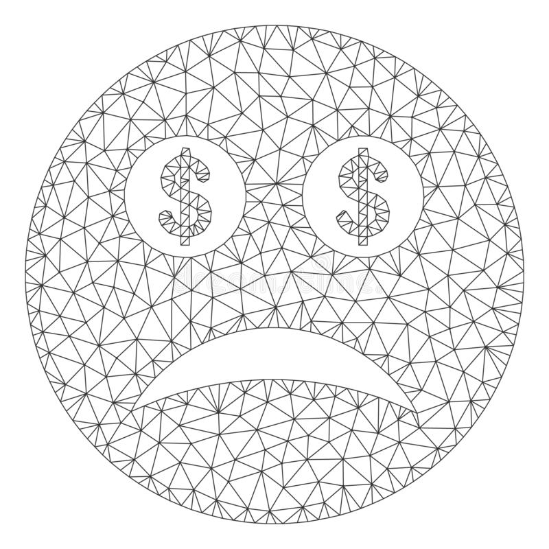 Modelo falido de Smiley Vetora Mesh Wire Frame ilustração stock