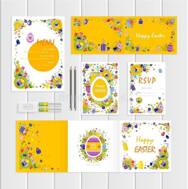 Modelo feliz da Páscoa com ovos coloridos ilustração stock