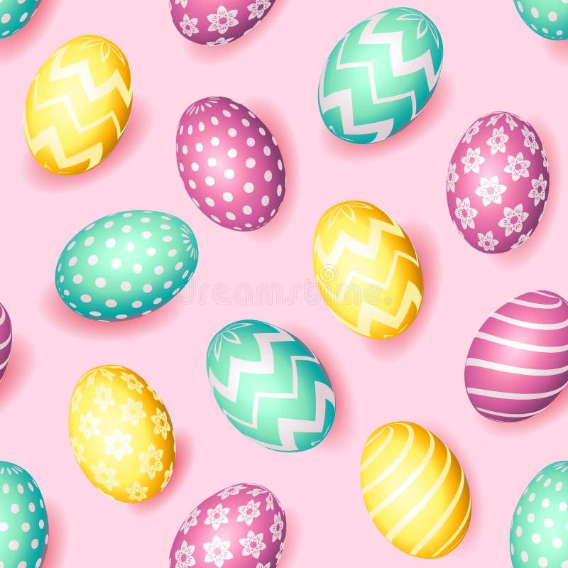 Modelo feliz inconsútil de Pascua con los huevos realistas con diverso ornamento, fondo del día de fiesta, ejemplo del vector Tel libre illustration