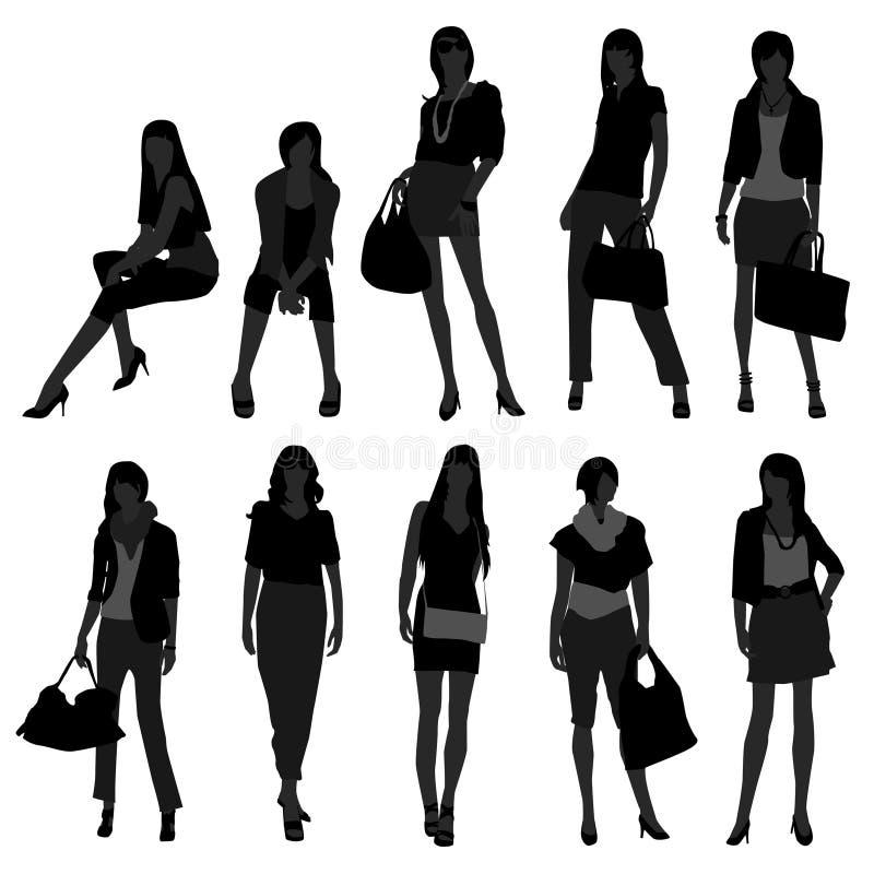 Modelo femenino de las compras de la manera de la muchacha de la mujer ilustración del vector