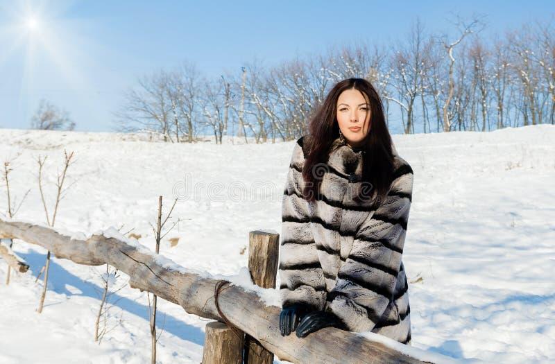 Modelo femenino joven en un abrigo de pieles imágenes de archivo libres de regalías