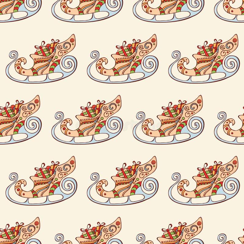 Modelo festivo inconsútil con el trineo de la Navidad Elementos decorativos Textura tradicional sin fin para el diseño de la Navi libre illustration