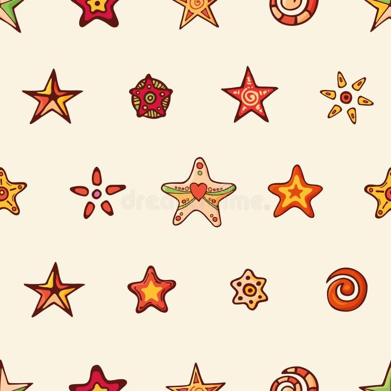 Modelo festivo inconsútil con las estrellas a mano de la Navidad y los elementos decorativos Textura tradicional sin fin para el  libre illustration