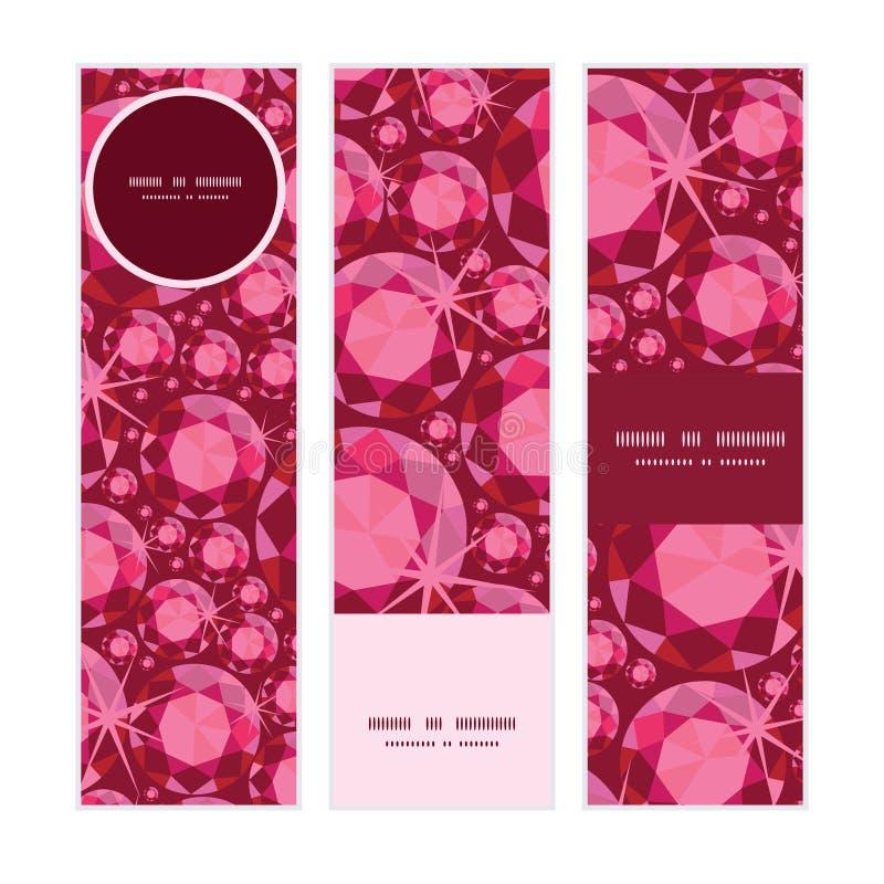 Modelo fijado banderas verticales de rubíes del vector libre illustration