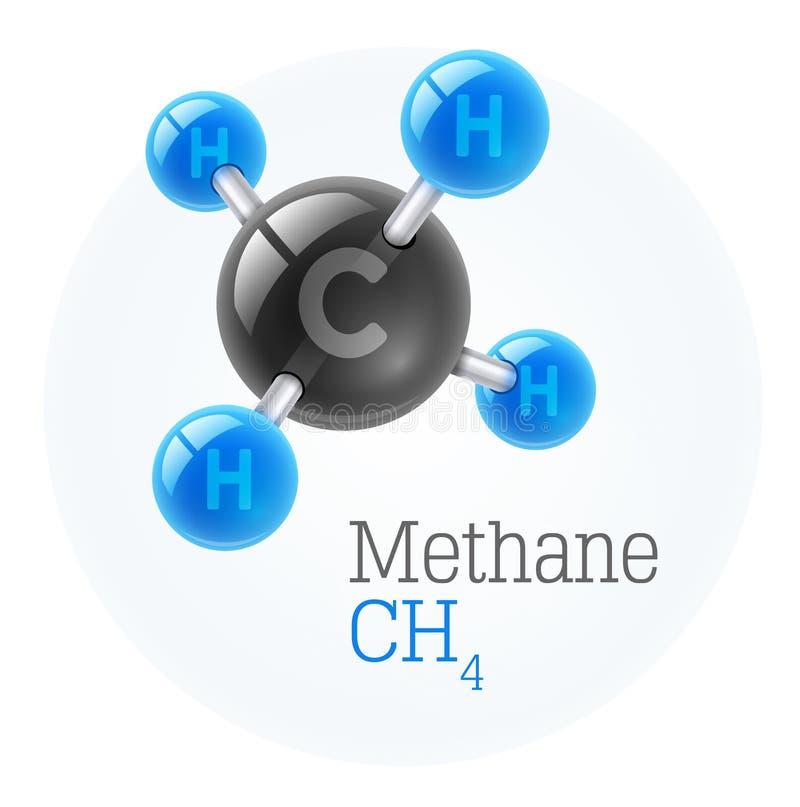 Modelo fisicoquímico de la molécula del metano del gas ilustración del vector