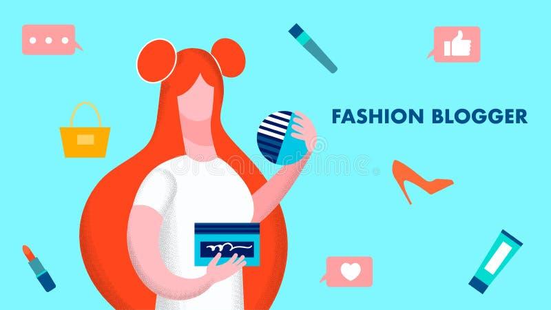 Modelo Flat Vector Illustration del Blogger de la moda ilustración del vector