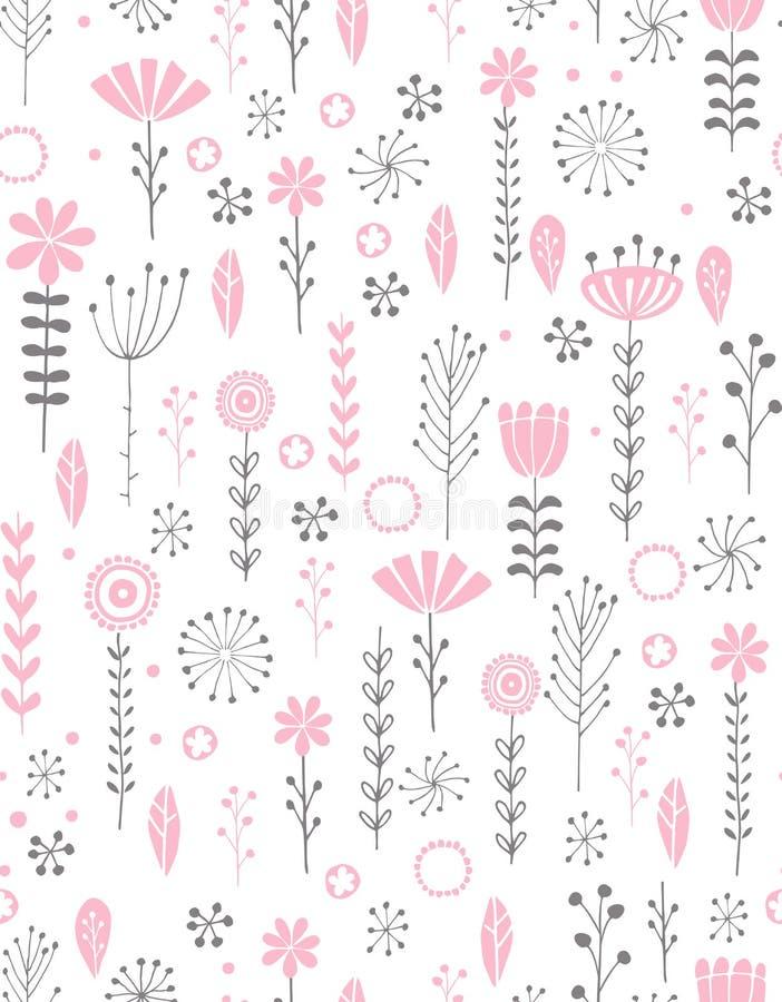 Modelo floral abstracto del vector Ramitas grises y rosadas, flores rosadas y hojas, fondo blanco Ilustración drenada mano stock de ilustración