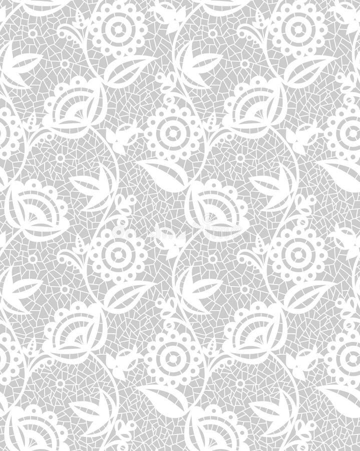 Modelo floral blanco inconsútil del cordón stock de ilustración