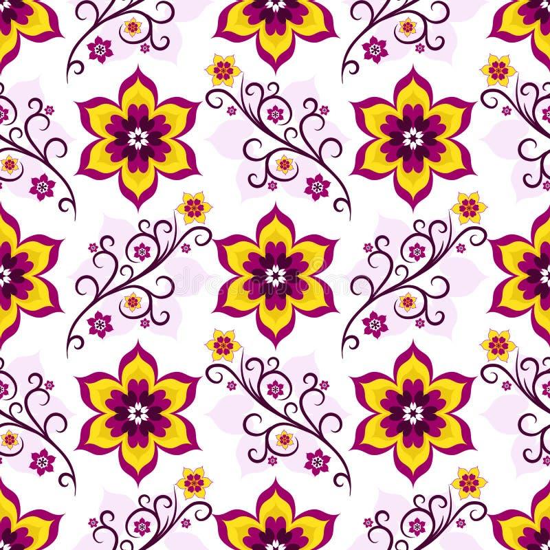 Modelo floral blanco-rosado inconsútil stock de ilustración