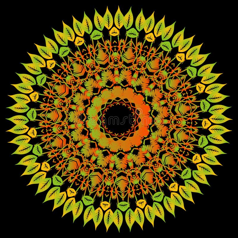 Modelo floral colorido de la mandala del cordón del bordado Fondo sucio del vector Ornamento de encaje étnico floral texturizado  libre illustration