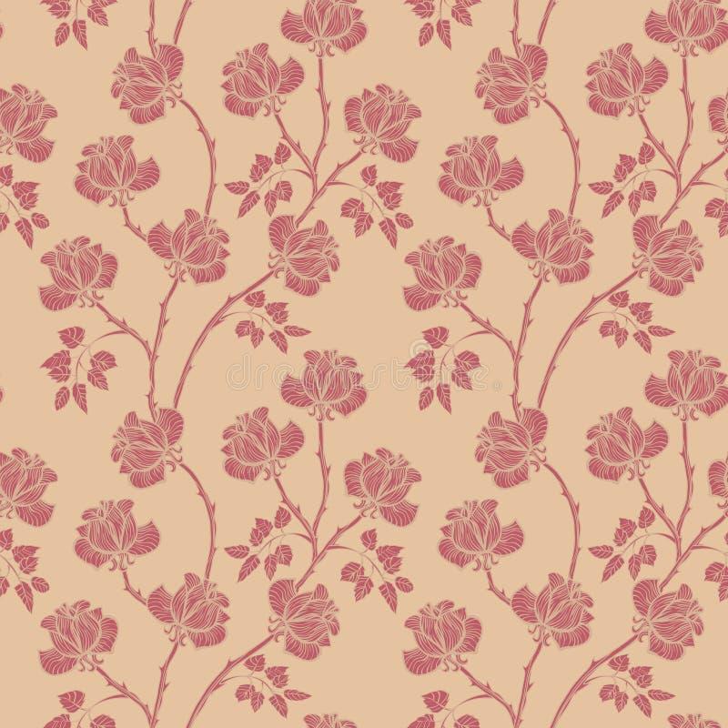 Modelo floral con las rosas Fondo incons?til de la flor Jard?n ornamental del Flourish stock de ilustración