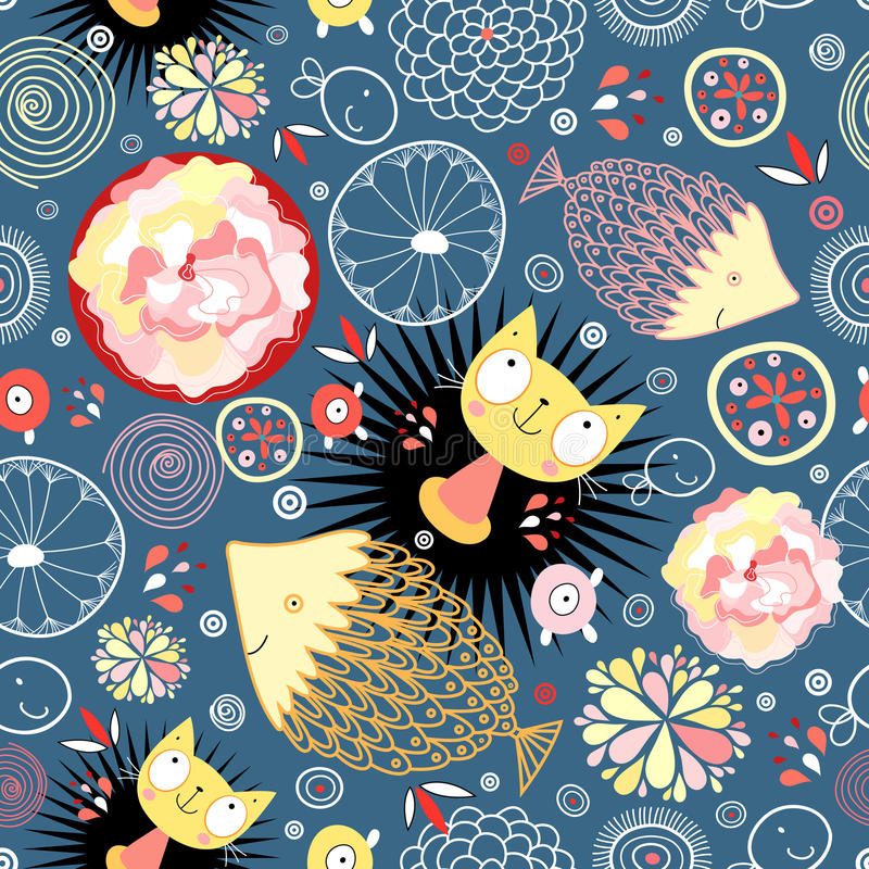 Modelo floral con los gatitos y los pescados libre illustration