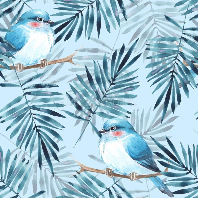 Modelo floral con los pájaros ilustración del vector
