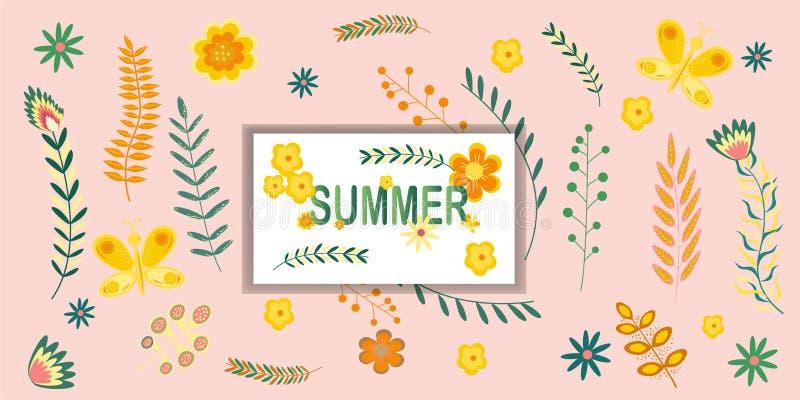 Modelo floral de la bandera del verano con las flores y las ramas del verano de la inscripción en colores en colores pastel Ilust stock de ilustración