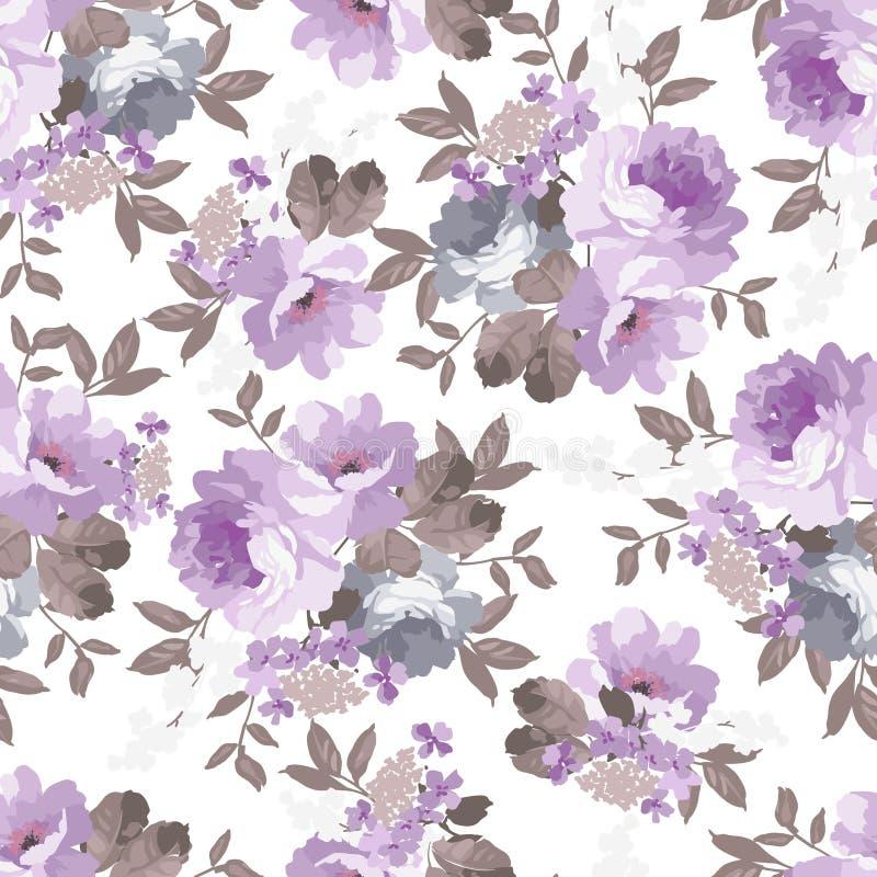 Modelo floral de la vendimia inconsútil stock de ilustración