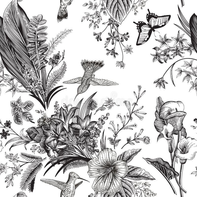 Modelo floral de la vendimia inconsútil del vector Flores y pájaros exóticos ilustración del vector