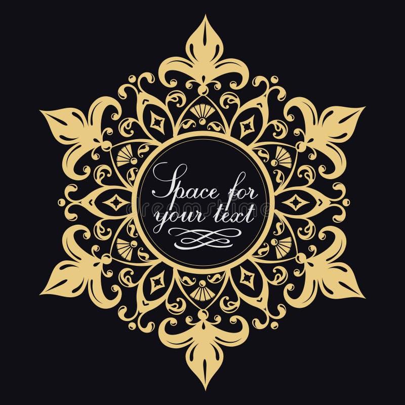 Modelo floral decorativo Marco agraciado del oro Símbolos heráldicos Iniciales del monograma ilustración del vector
