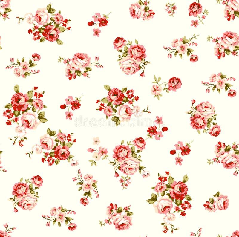 Modelo floral del ejemplo de Rose con la hoja hermosa ilustración del vector