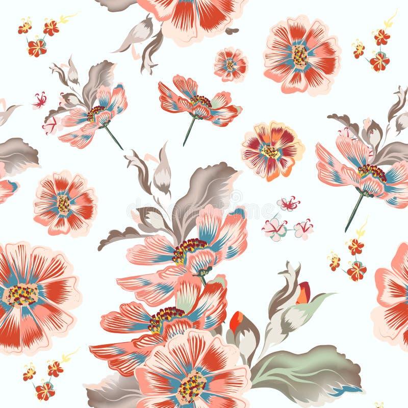 Modelo floral del vector con las flores del cosmos ilustración del vector