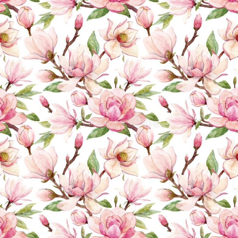 Modelo floral del vector de la magnolia de la acuarela libre illustration