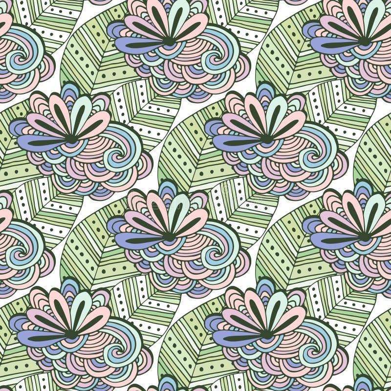 Modelo floral del vector del arte del zen Página del colorante de Zentangle Fondo inconsútil del garabato con las flores y las ho libre illustration