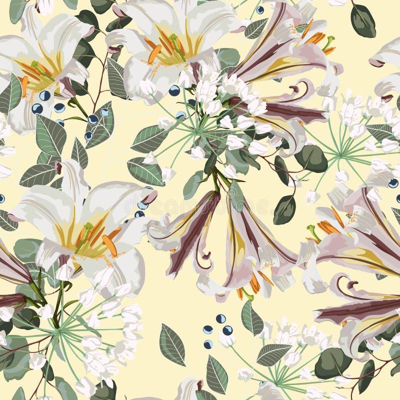 Modelo floral del vector inconsútil Flores, hierbas y bayas reales blancas de los lirios stock de ilustración