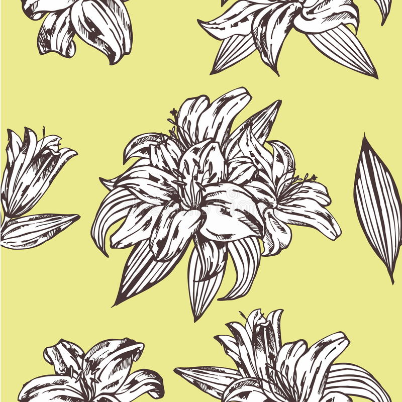 Modelo floral del vector inconsútil Flores reales del lirio en un fondo amarillo libre illustration