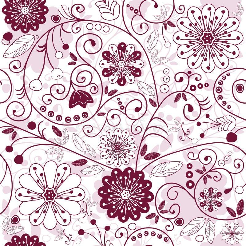 modelo floral inconsútil Blanco-púrpura ilustración del vector