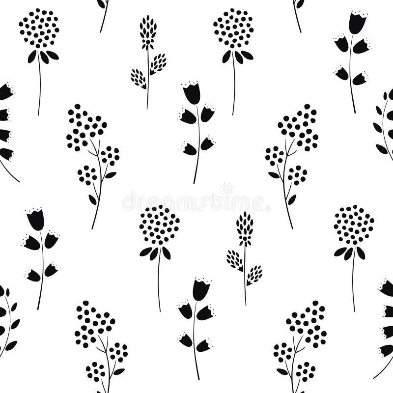 Modelo floral inconsútil blanco y negro stock de ilustración