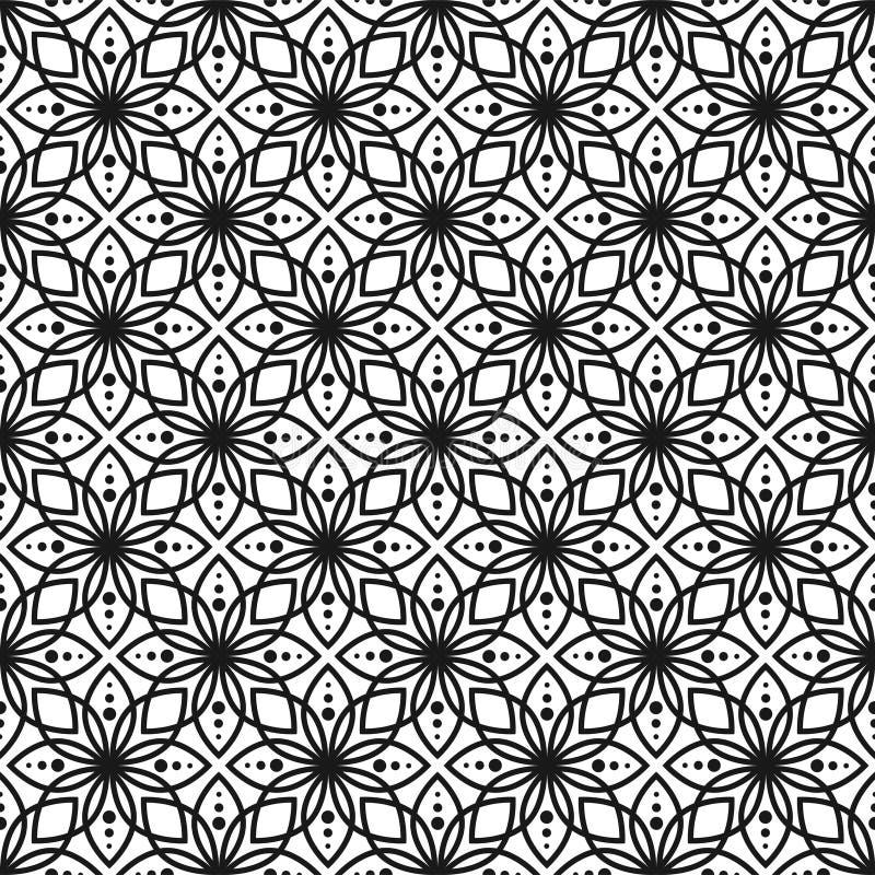 Modelo floral inconsútil blanco y negro del vector stock de ilustración