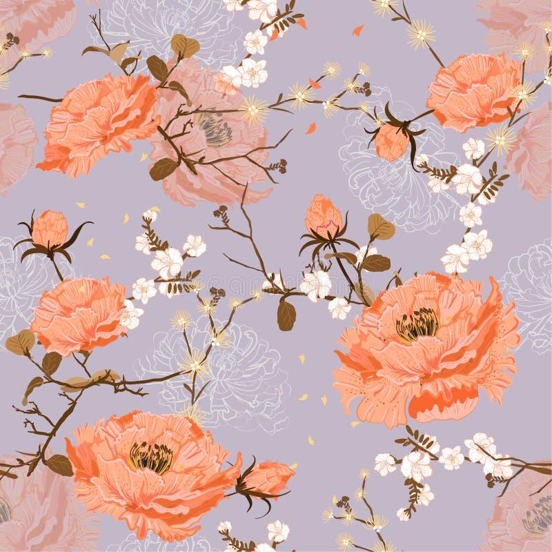 Modelo floral inconsútil Bloosom nacional chino de la peonía y de la cereza de la flor Ejemplo rosado suave y del gentel oriental stock de ilustración
