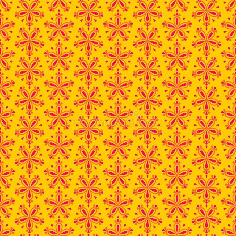 Modelo floral inconsútil colorido del vector del extracto con las flores rojas en fondo amarillo libre illustration