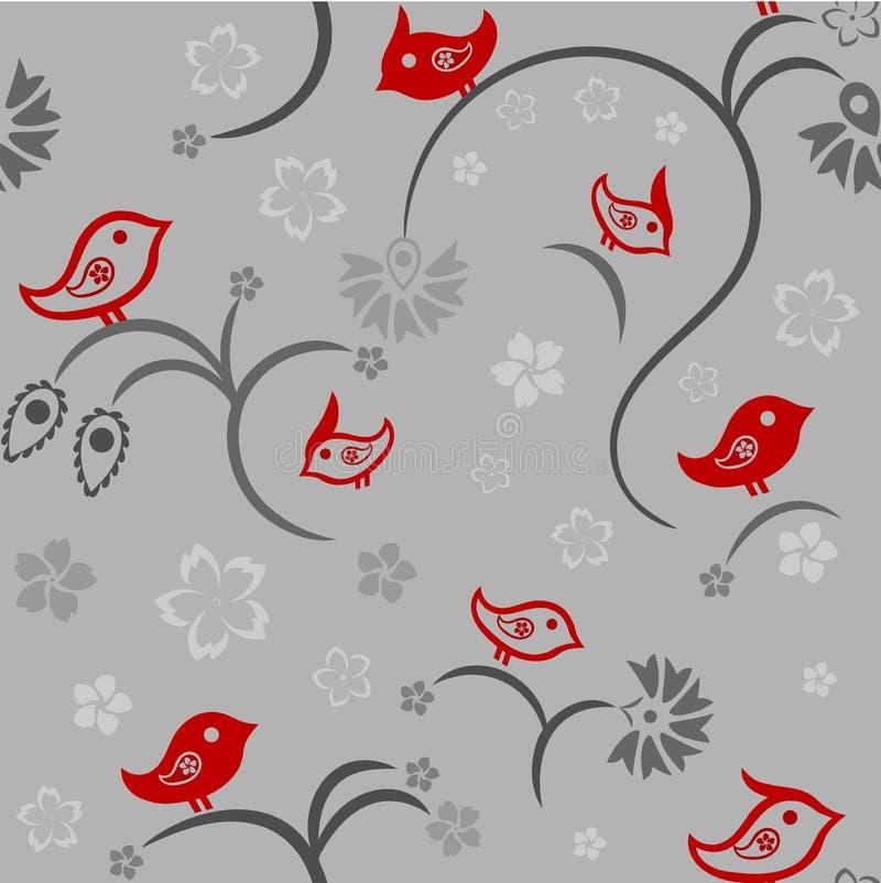 Modelo floral inconsútil con los pájaros ilustración del vector
