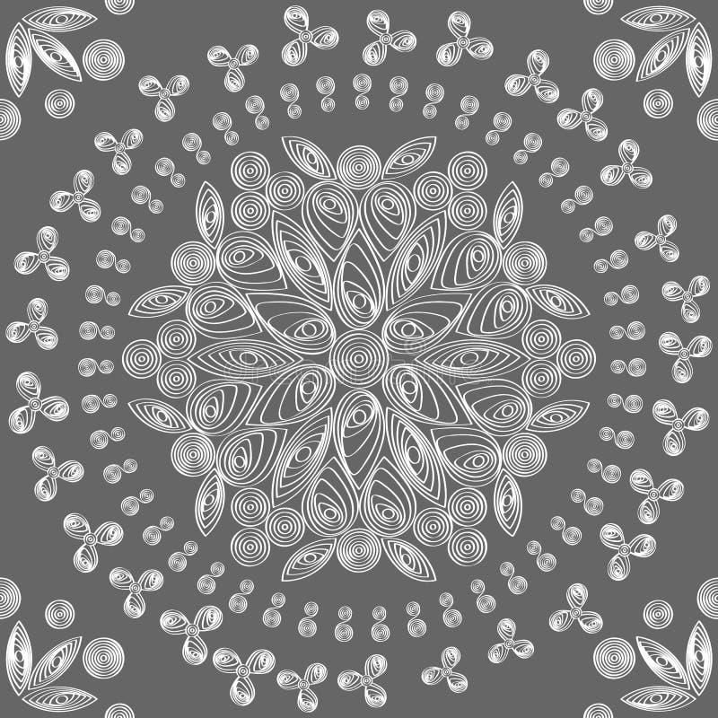 Modelo floral inconsútil del blanco del cordón stock de ilustración