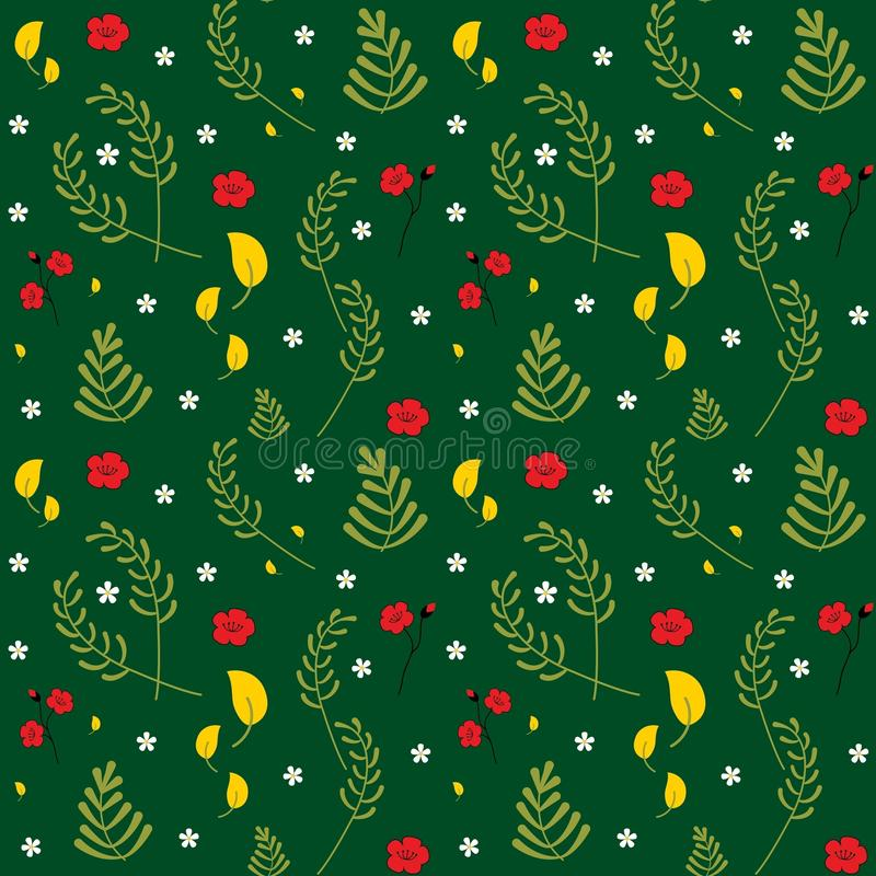 Modelo floral inconsútil del vector Modelo botánico de la primavera colorida decorativa de moda Fije de diversas plantas, hojas y stock de ilustración
