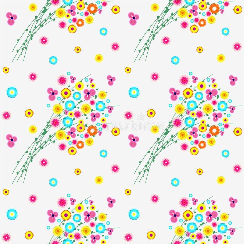 Modelo floral inconsútil del vector, fondo con las flores salvajes coloridas y hojas, sobre el contexto ligero libre illustration
