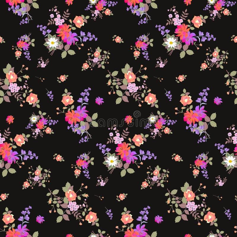 Modelo floral inconsútil del verano con los ramos de rosas, de margarita, de cosmos y de flores de campana en fondo negro Impresi ilustración del vector