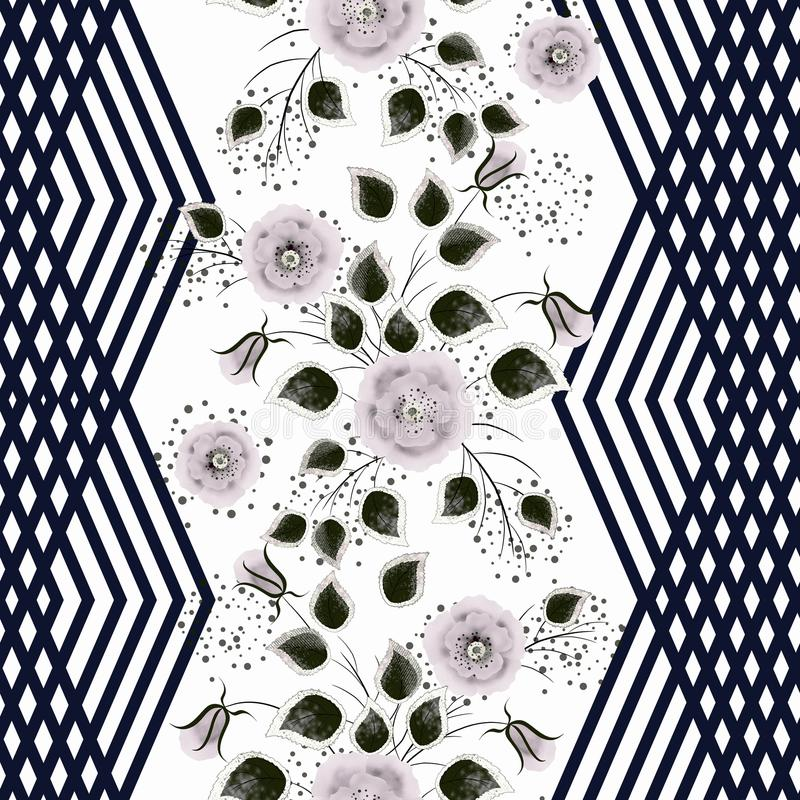 Modelo floral inconsútil Flores grises rosáceas en un fondo blanco con las rayas negras verticales libre illustration