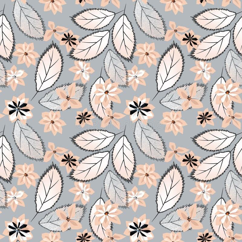 Modelo floral inconsútil Flores rosadas en Grey Background libre illustration