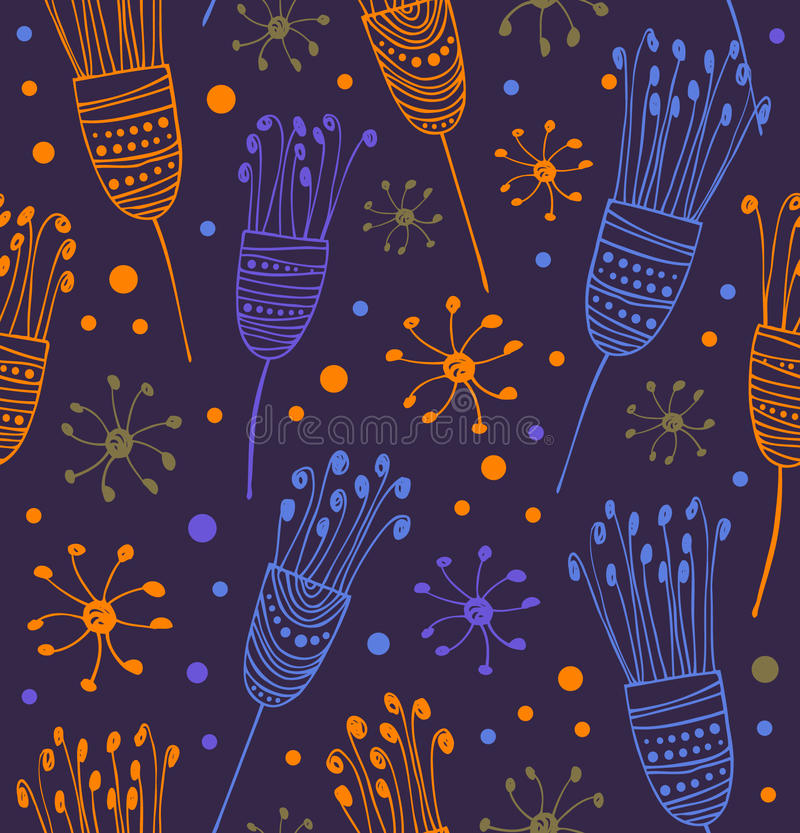 Modelo floral inconsútil Fondo abstracto con las flores Textura linda decorativa del garabato stock de ilustración