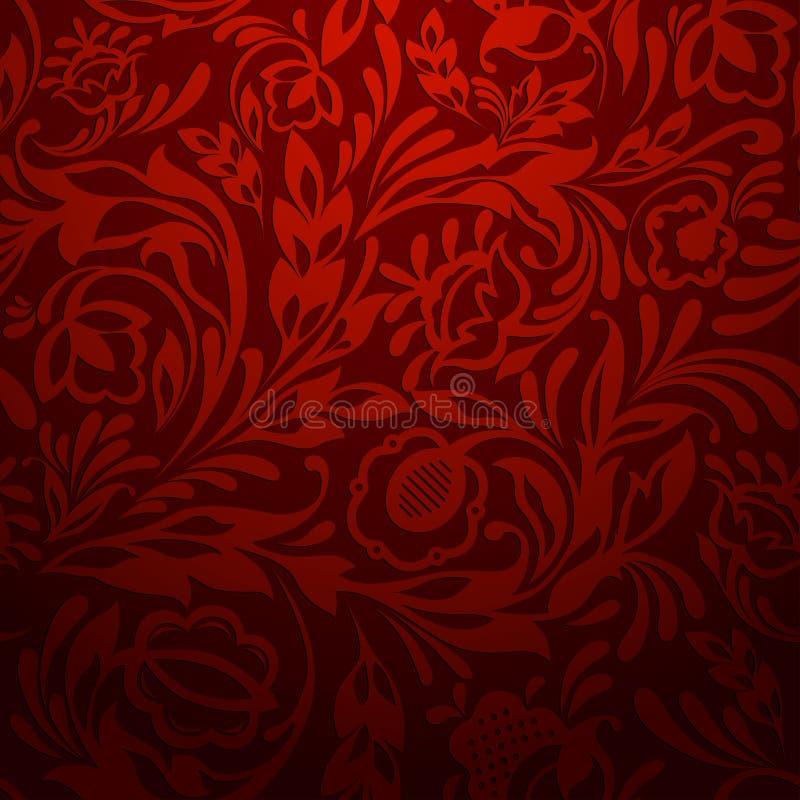 Modelo floral inconsútil rojo stock de ilustración