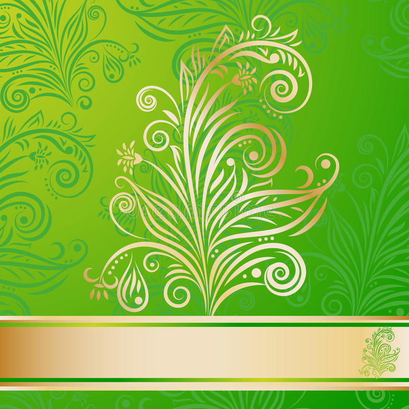Modelo floral inconsútil y elemento de oro ilustración del vector