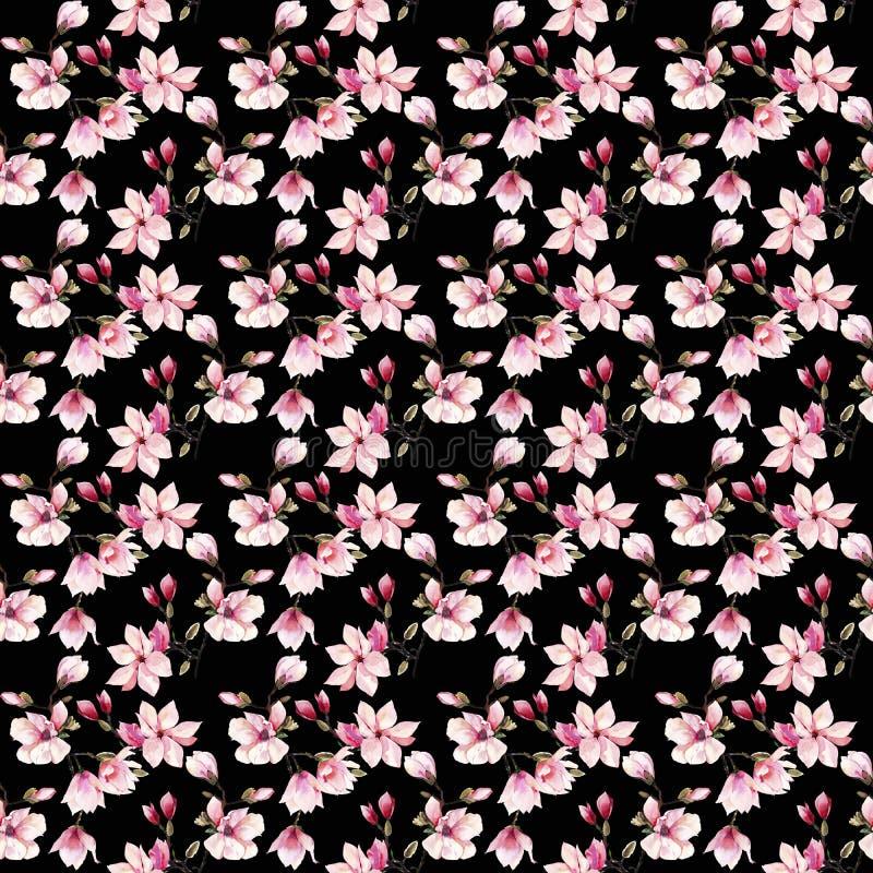 Modelo floral maravilloso herbario del verano de la oferta preciosa hermosa de las flores japonesas rosadas de una magnolia stock de ilustración
