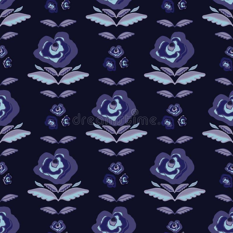 Modelo floral retro bohemio de la floración, vector inconsútil exhausto Rose Folk Style Flower Illustration de la mano libre illustration