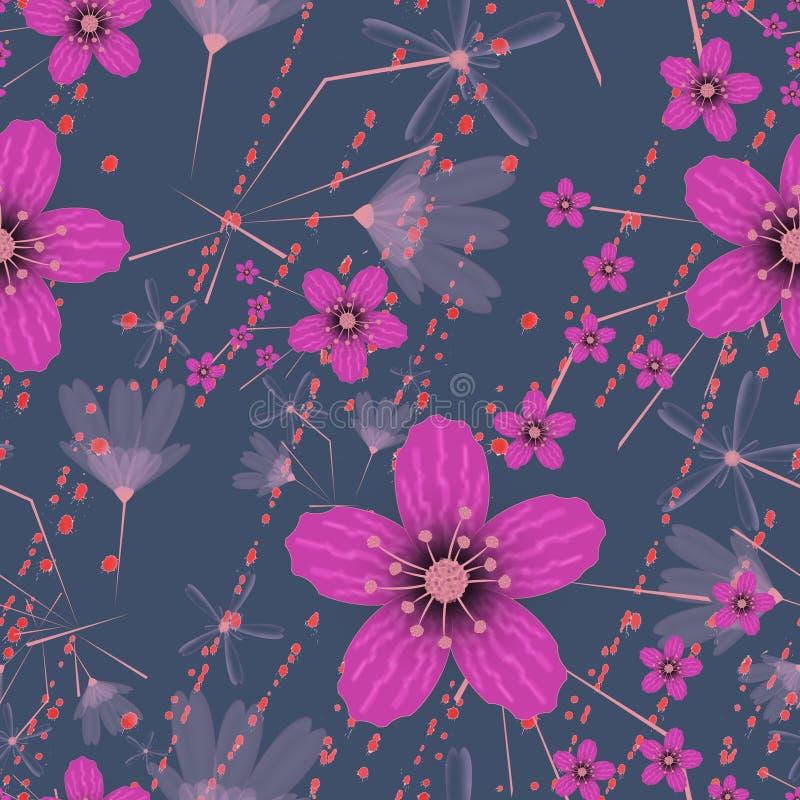 Modelo floral retro inconsútil Flores rosadas brillantes en fondo azul libre illustration