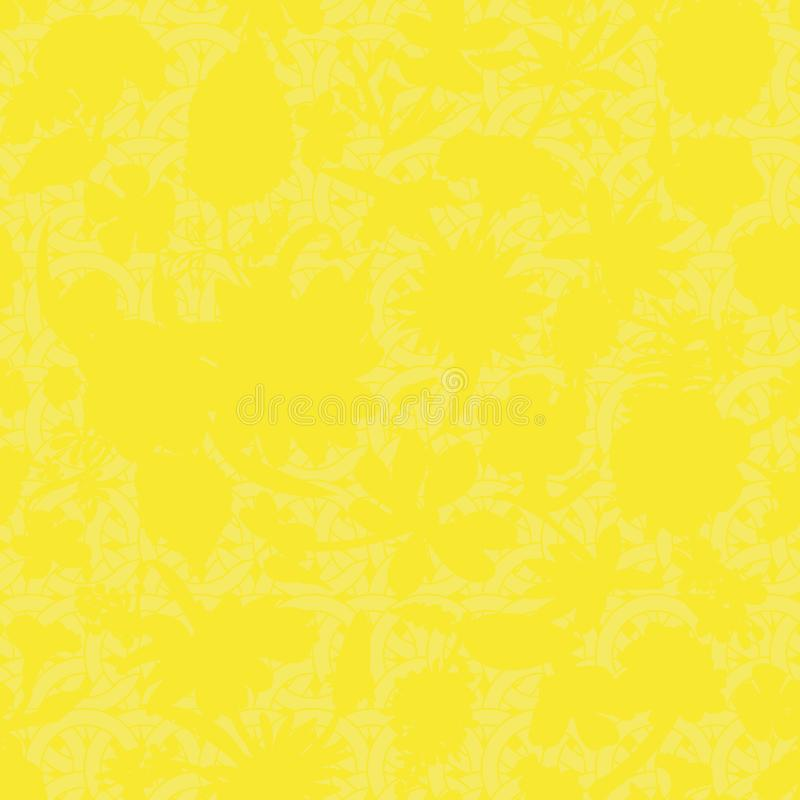 Modelo floral sutil del vitral del vector inconsútil en colores amarillos stock de ilustración