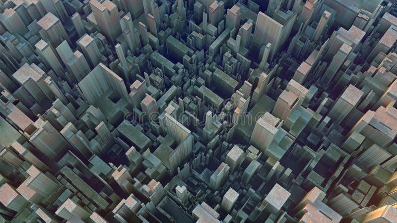 Modelo futurista coloreado extracto del techno Ejemplo de Digitaces 3d ilustración del vector