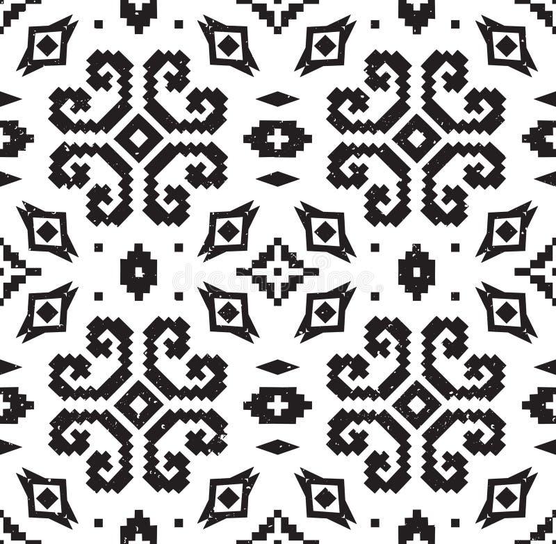 Modelo geométrico étnico en colores blancos y negros ilustración del vector